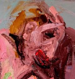 'Études de figures rapides no:3' close-Up by M. Harrison-Priestman - oil on linen, 30 x 100 cm, 2020.