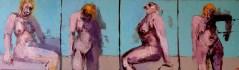 'Études de figures rapides no:4' by M. Harrison-Priestman - oil on linen, 30 x 100 cm, 2020.