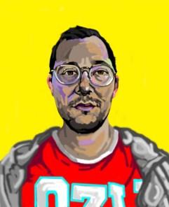 'Étude de tête no:7' digital portrait illustration using my finger on my laptop by M. Harrison-Priestman - 2021.