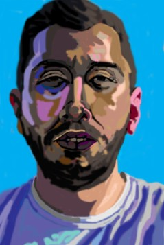 'Étude de tête no:2' digital portrait using my finger on my laptop pad by M. Harrison-Priestman - 2021.