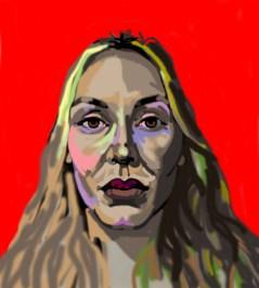 'Étude de tête no:6' digital portrait illustration using my finger on my laptop by M. Harrison-Priestman - 2021.
