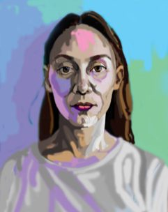 'Étude de tête no:9' digital illustration portrait using my finger on my laptop by M . Harrison-Priestman - 2021.