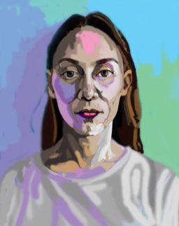 'Étude de tête no:9' digital illustration portrait using my finger on my laptop by M . Harrison-Priestman - 2021.