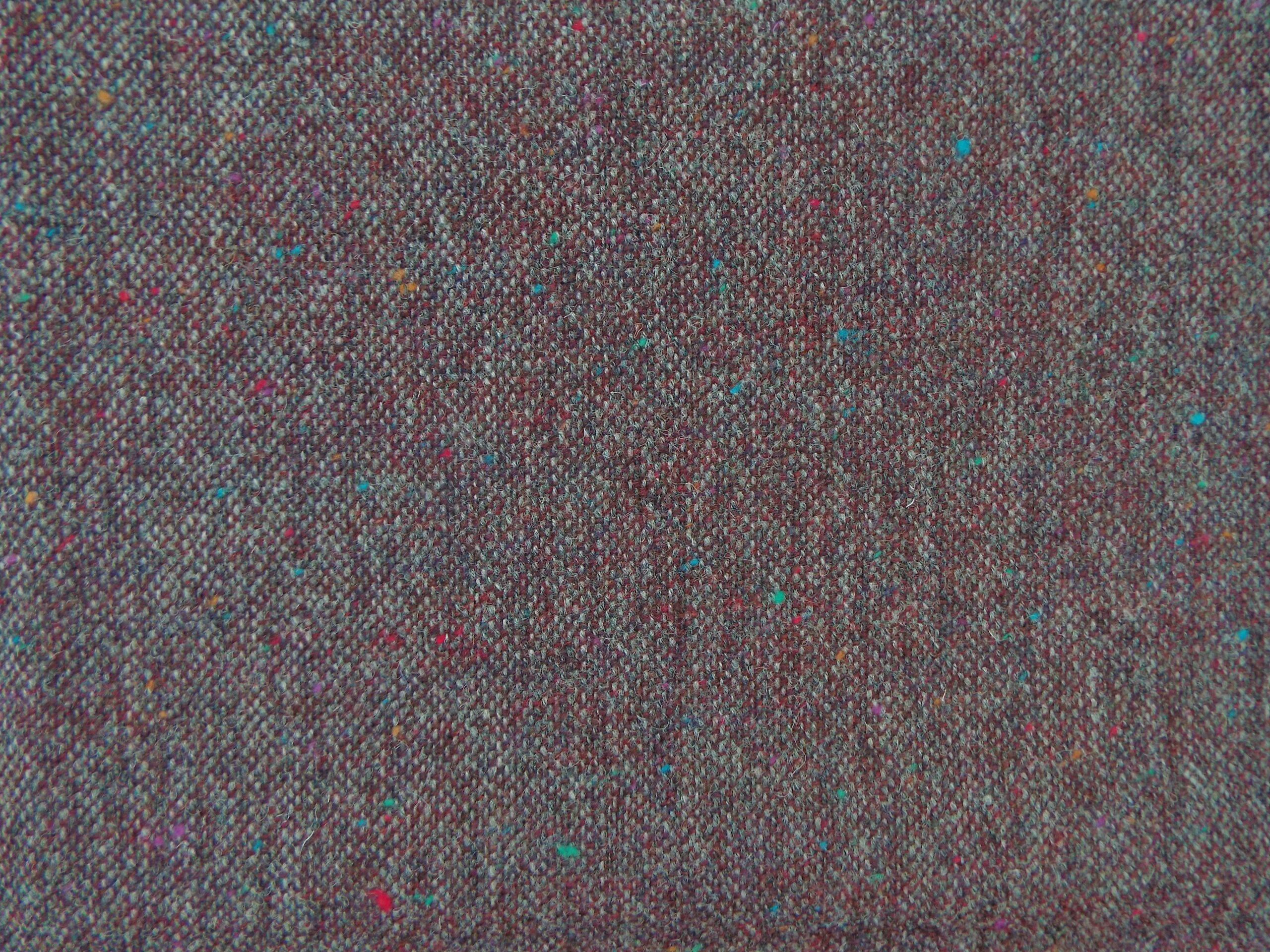 100 Wool Tweed Fabric Mix Grey Burgundy Donegal Fleck Made In