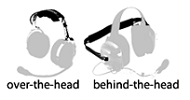 over the head v behind the head  Noise cancelling headsets.