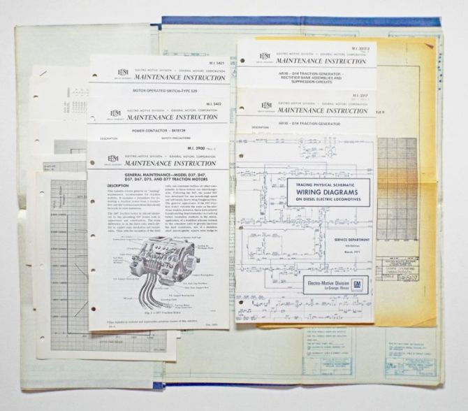 collection of locomotive schematic wiring diagrams maintenance manuals and  blue prints emd sd452 canadian pacificelectromotive division