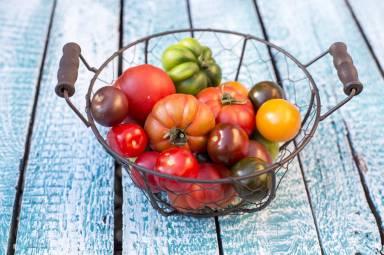 Heirloom tomatoes in basket