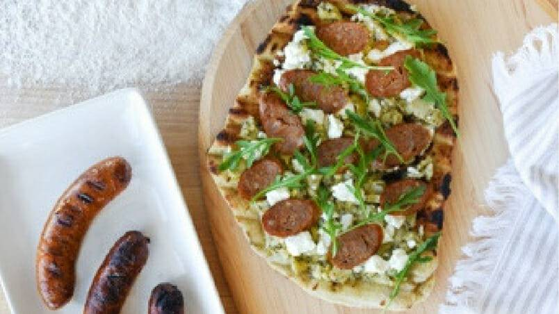 Grilled Toulouse Sausage BBQ Pizza 2