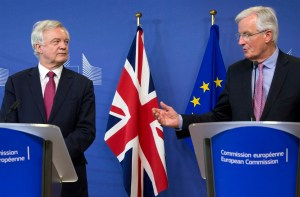 David Davis, Britain's Brexit minister alongside the EU's man Michel Barnier during talks