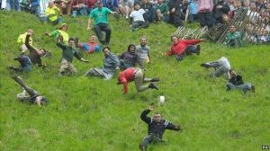 Chasing the cheese at Coopers Hill in Gloucestershire - Pic BBC