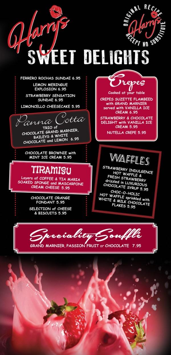Harry's Bar Newcastle - Desserts Menus