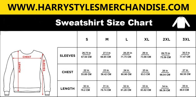 Harry Styles Sweatshirt Size Chart