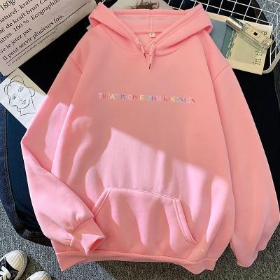 Winter Hooded Sweatshirt Casual Harry Styles Treat People With Kindness Fashion Women