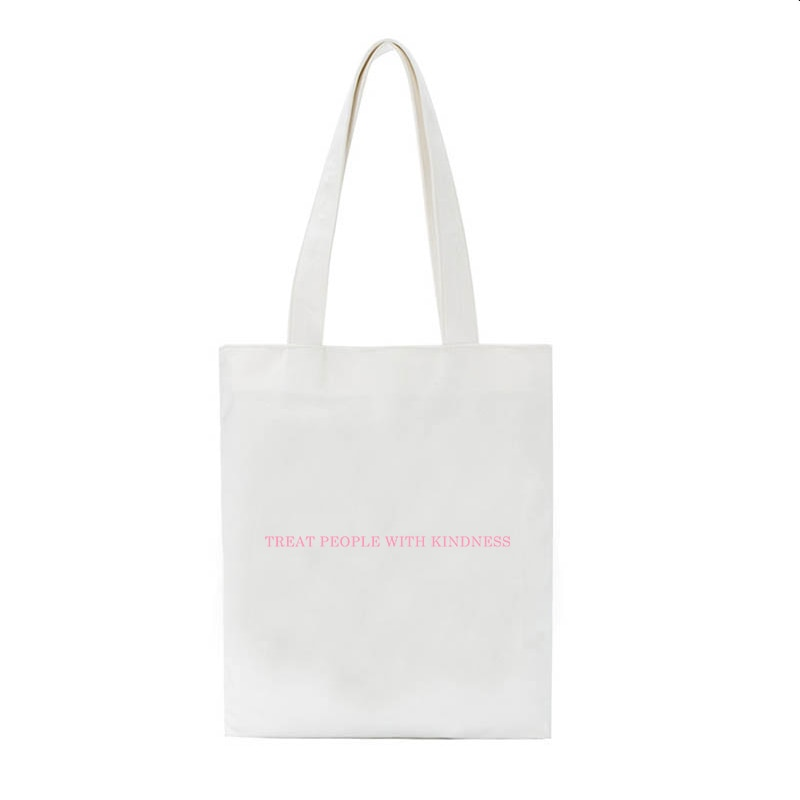 Harry Styles Bag Fashion Canvas Treat people with kindness letter Casual Big Capacity Harajuku Women