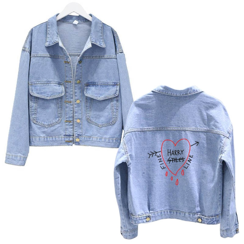 Harry Styles Women's fine line fashion women blue denim jeans jackets