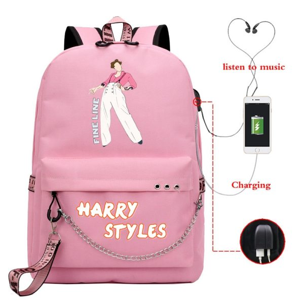 Mochila Harry Styles Backpack Teenager Girl School Bag USB Charge Travel Bag Women and Kids