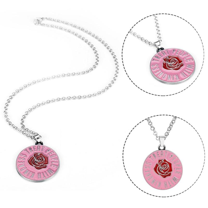 Harry Styles Rose flower Fine Line Pendant Necklace For Women Men