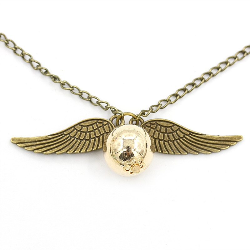 Harry Style Angel Wing Charm Golden Snitch Pendent Necklace For Men QW70