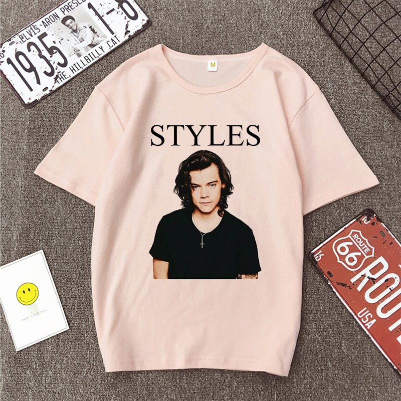 Summer Harry Styles Casual Pink T-shirt For Women
