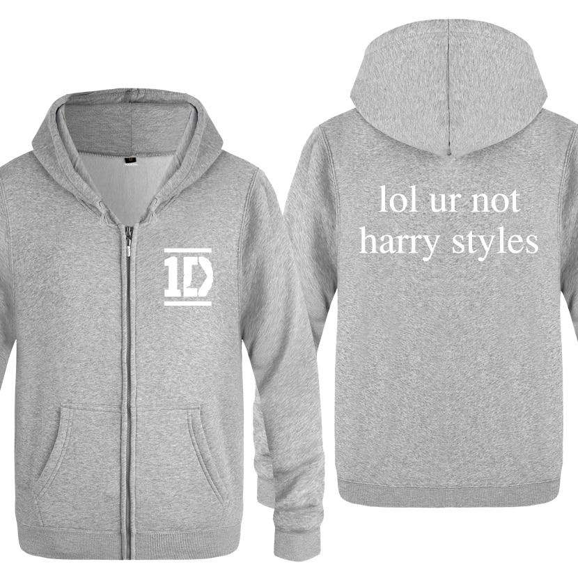 Harry Styles Men Fashion Fleece Zipper Jackets Cardigans Hooded Sweatshirts Coat