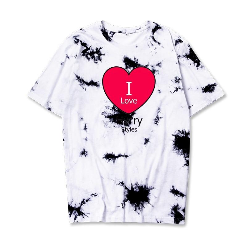 Harry Styles I Love Korean Letter Printing Tie Dye T Shirts For Men/Women