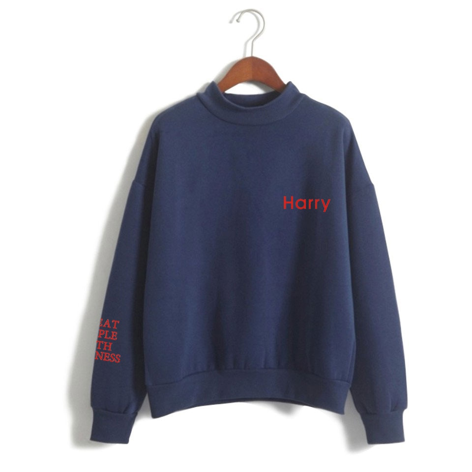 Harry Styles Merch with Kindness Tops Ladies Fashion Loose Pullover Sweatshirt