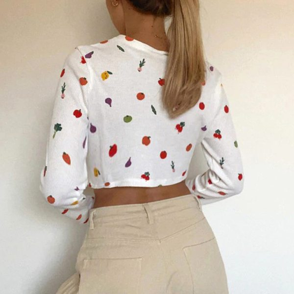 Harry Styles cardigan oversized sweatshirt Female Cute Fruit Printing Autumn Button