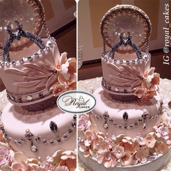 Harsanik Engagement Ring Box Cake By Royal Cakes