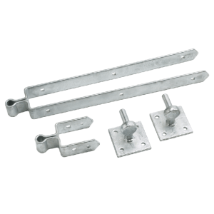 Double strap hinge set on plates