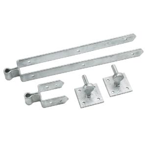 Double strap hinge set on plates