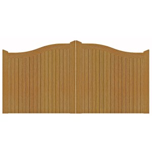 Swept Top Manor Gates in Iroko