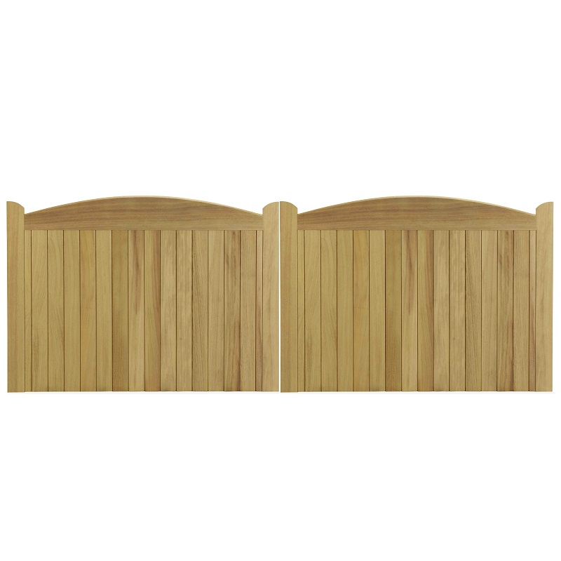 Cameo gates in Iroko hardwood