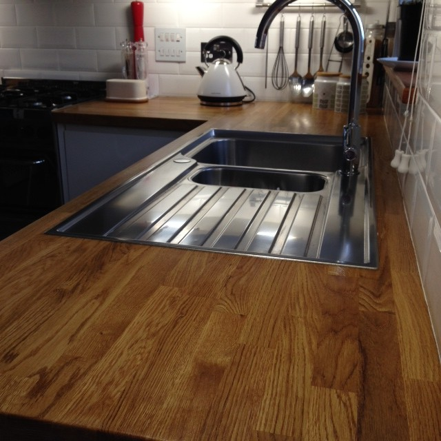 Kitchen Worktops And Sinks: Oak Worktop Sink Close Up