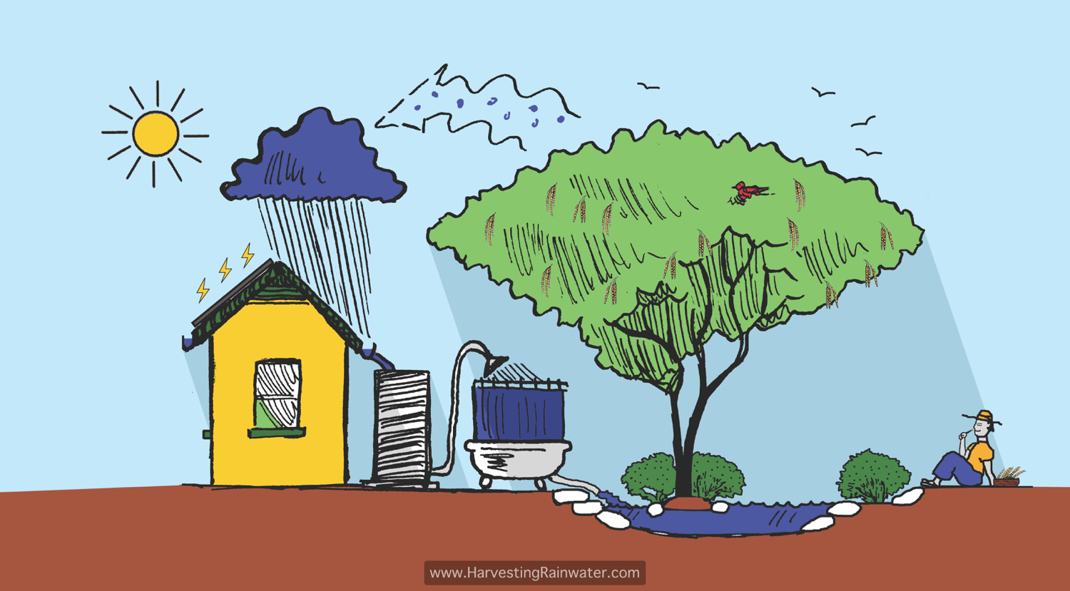 rainwater harvesting for drylands and beyond by brad lancaster  harvesting and cycling water and sun illustration by joe marshall