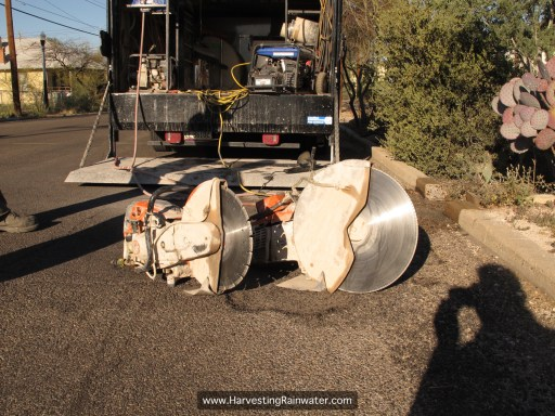 Gas-powered circular saws: 14-inch diameter blade on left, 20-inch diameter blade on right. Equipment owned by Tucson Concrete Cutting and Coring.
