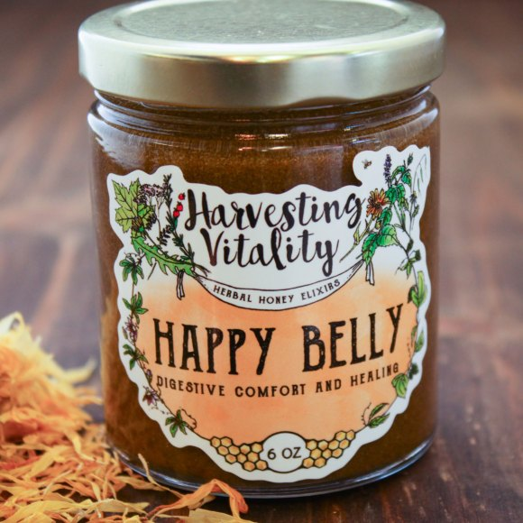 Harvesting Vitality's Happy Belly Honey is a wonderful addition to a digestive tea recipe