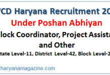 WCD Haryana Recruitment 2019 for Block Coordinator, Project Assistant and Other