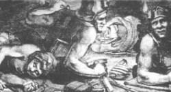 Bild: Bergleute im Kupferschieferbergbau bei der Strebarbeit in historischer Zeit.