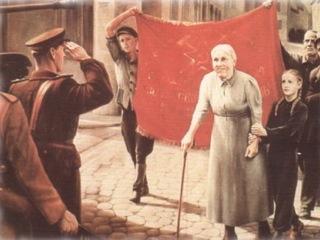 Bild: Die Familie Brosowski empfängt die sowjetischen Besatzer in Gerbstedt. Ausschnitt aus einem Gemälde des Kunstmalers Karl Kothe (1913-1965) aus dem Jahre 1953.