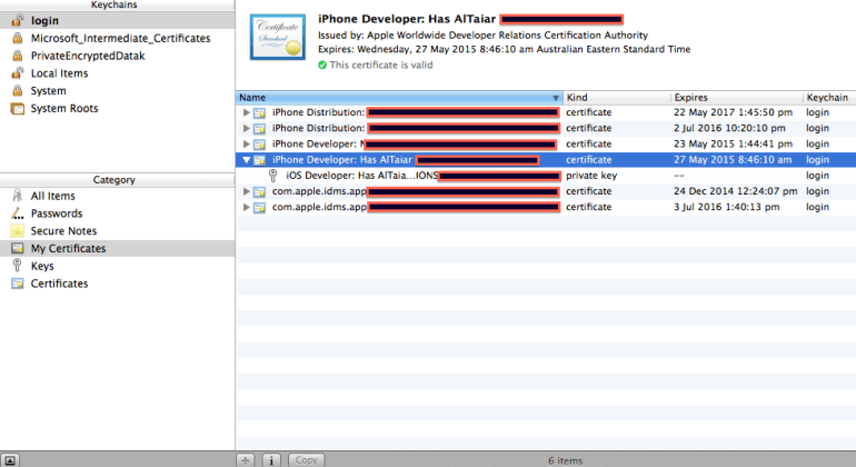 Apple keyChain Assistant certificate list