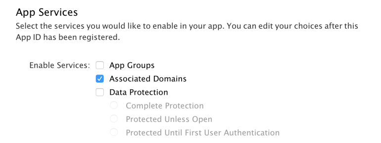 Enable Associated Domains in your App Identifier settings - Apple Dev Portal