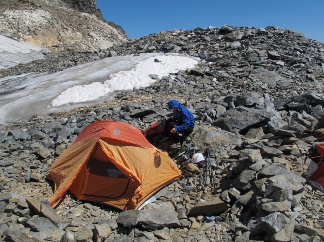 3700 m. deki kamp alnı.