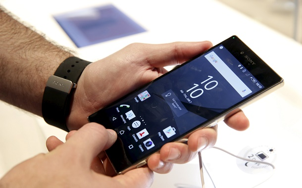 Sony Z5 Premium smart phones are shown in the Sony booth during the 2016 CES trade show in Las Vegas