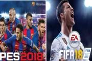 أيهما أفضل لعبة FIFA 18 أم لعبة PES2018......