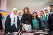 الملكة رانيا تزور مدرسة صويلح الثانوية الشاملة للبنات