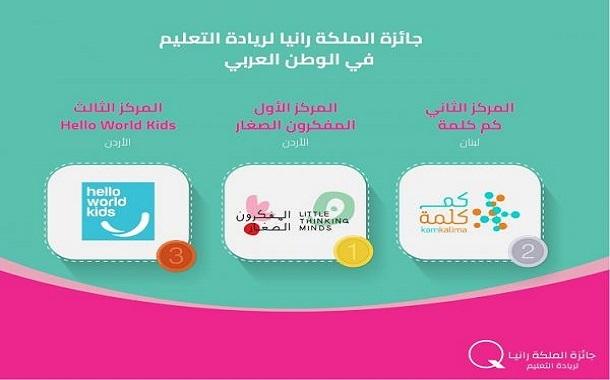 الاعلان عن الفائزين بجائزة الملكة رانيا لريادة التعليم بالوطن العربي