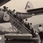 ロッキード・コンステレーション(L-749) 何かの講習会(見学会)のスナップ。1957年(昭和32年)