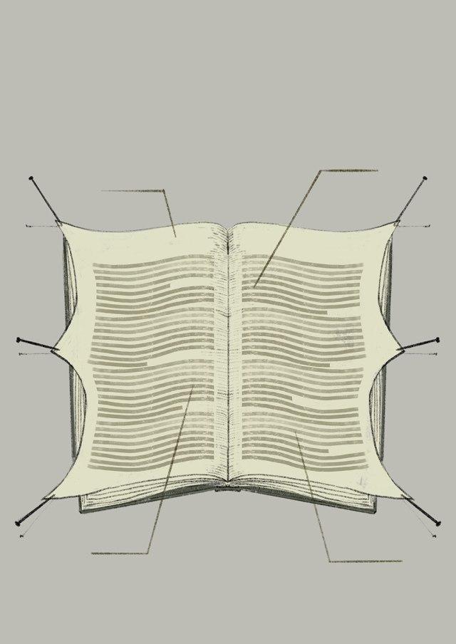Un libro abierto con las hojas sujetas con alfileres a modo de autopsia.