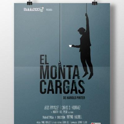 """Cartel de """"El Montacargas"""". Un hombre sostenido de una cuerda con una mano y con una taza de te en la otra y equilibrado por el título de la obra."""