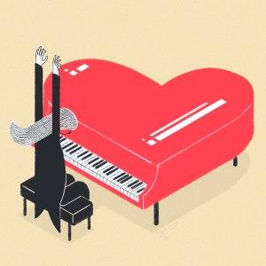 Piano rojo con forma de corazón y músico con los brazos en alto listo para tocar.